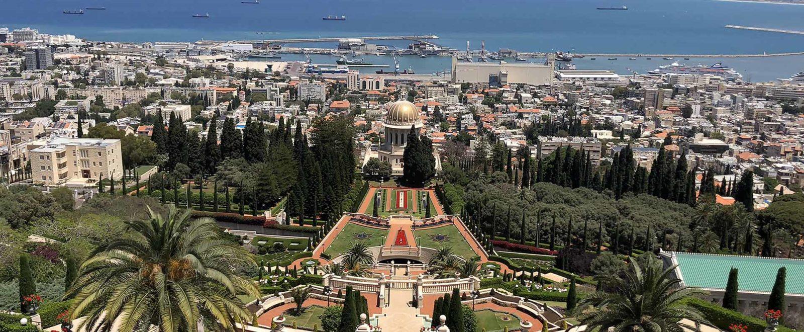 The Baha'i Gardens in Haifa from above