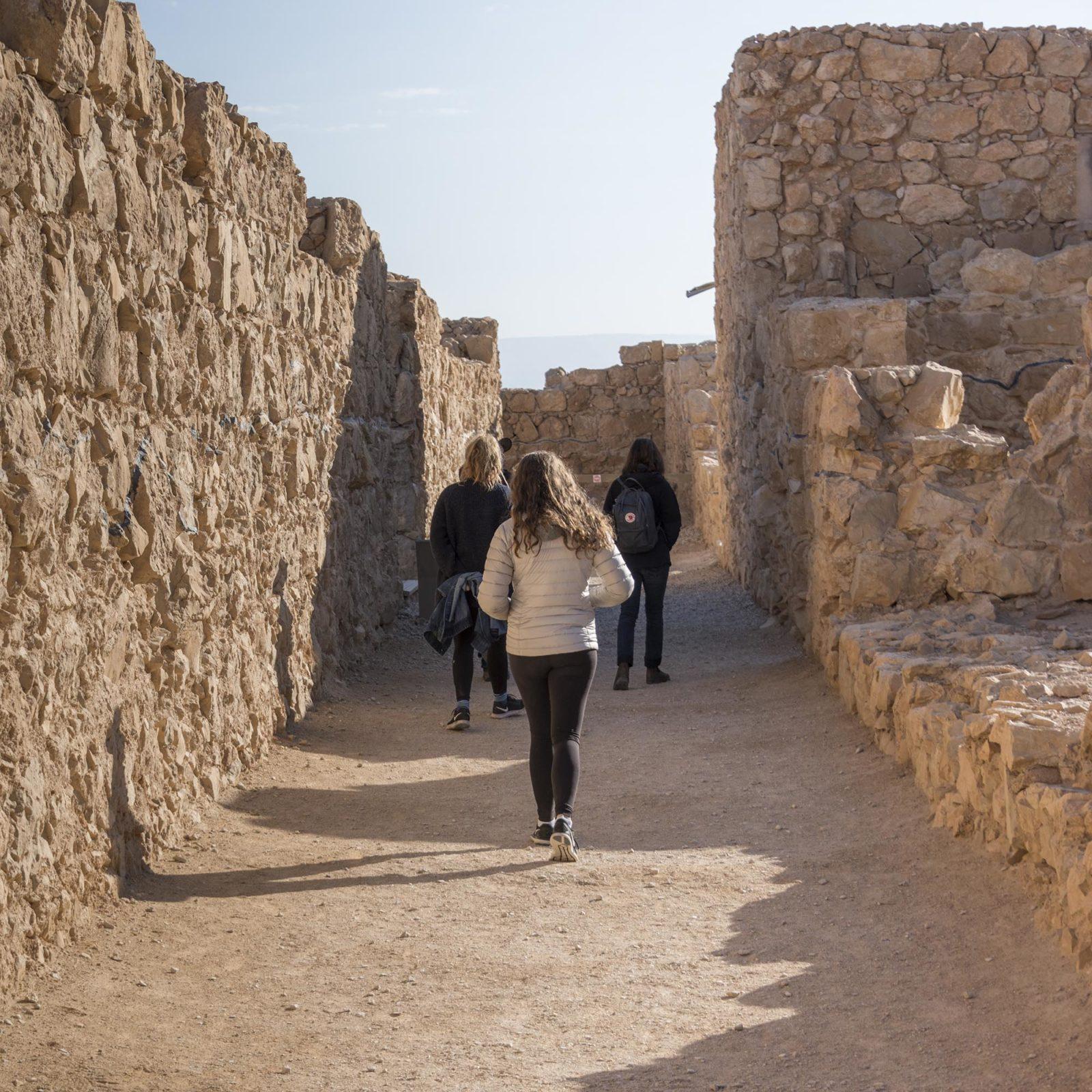 Tourists walking at fort, Masada, Judean Desert, Dead Sea Region, Israel